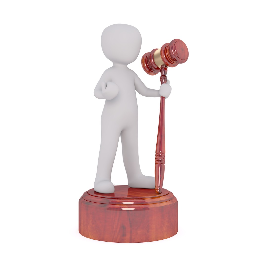 illustration of a guy standing on a gavel pedestal holding a gavel